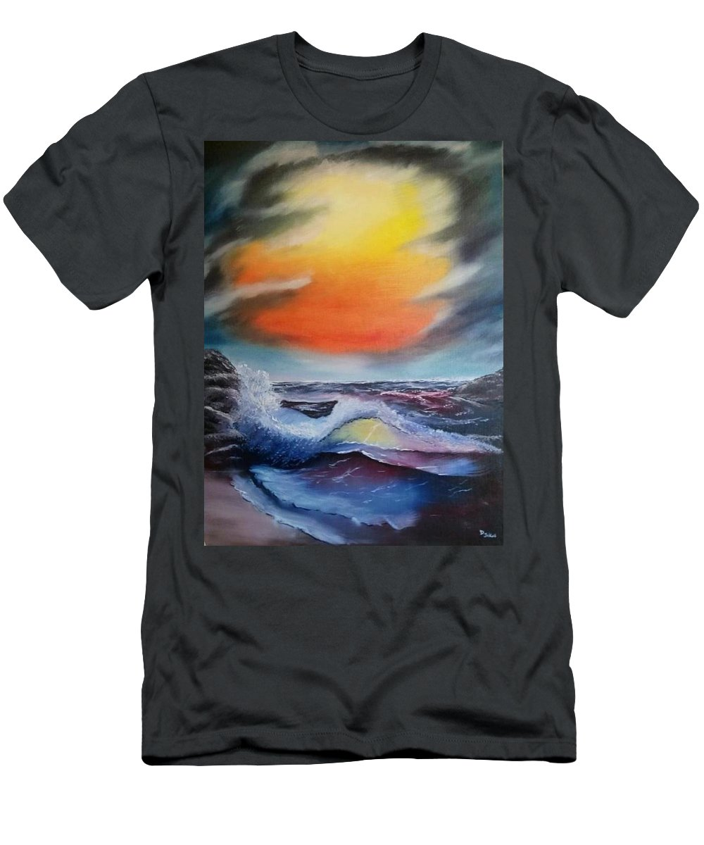 Oil Men's T-Shirt (Athletic Fit) featuring the painting Break In The Storm by Daniel Jakus