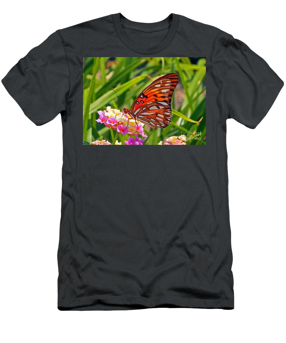 Butterfly Men's T-Shirt (Athletic Fit) featuring the photograph Brenda's Butterfly by Lydia Holly