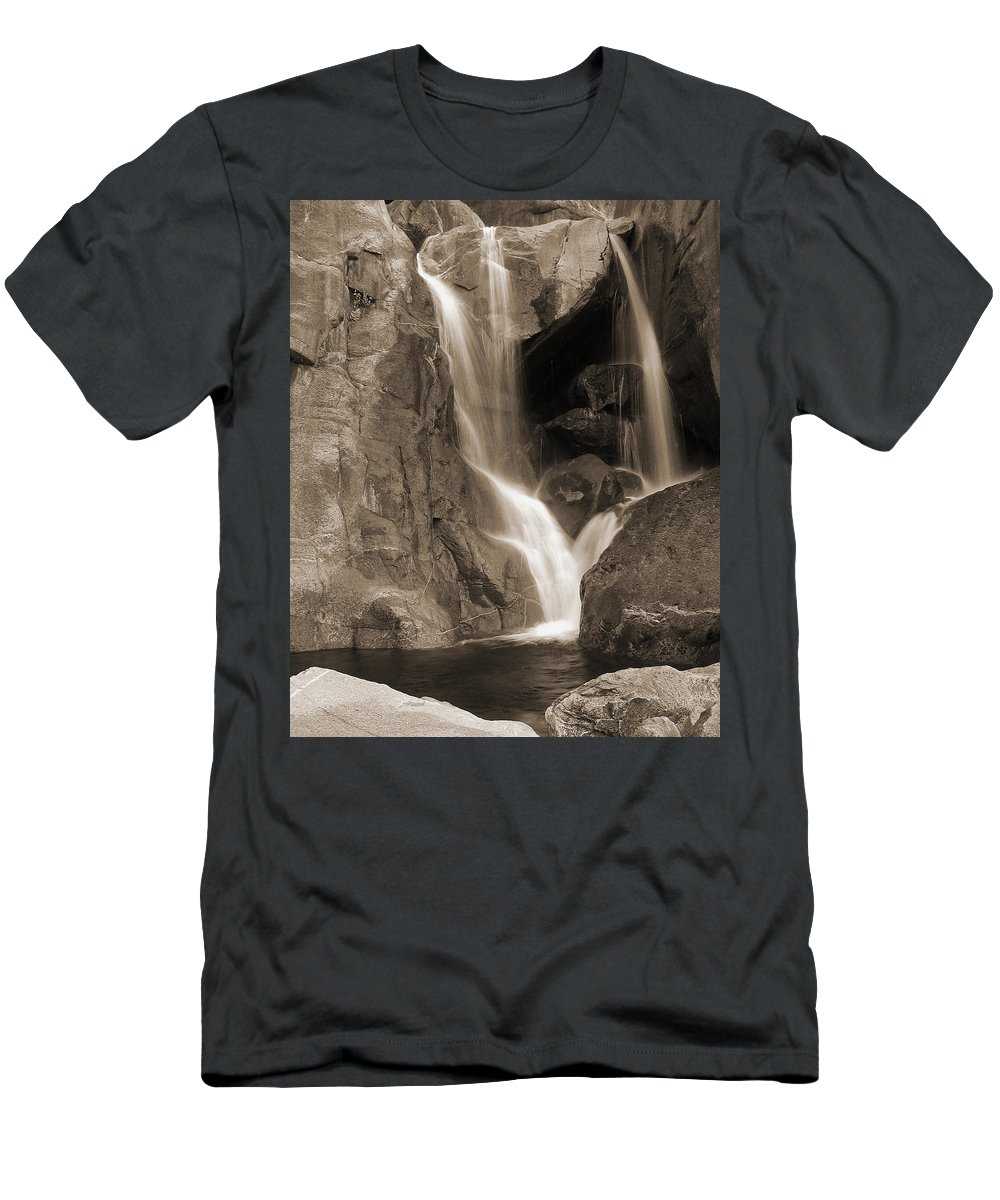 Waterfall Men's T-Shirt (Athletic Fit) featuring the photograph Bridalveil Falls In Yosemite Sepia Version by Greg Matchick