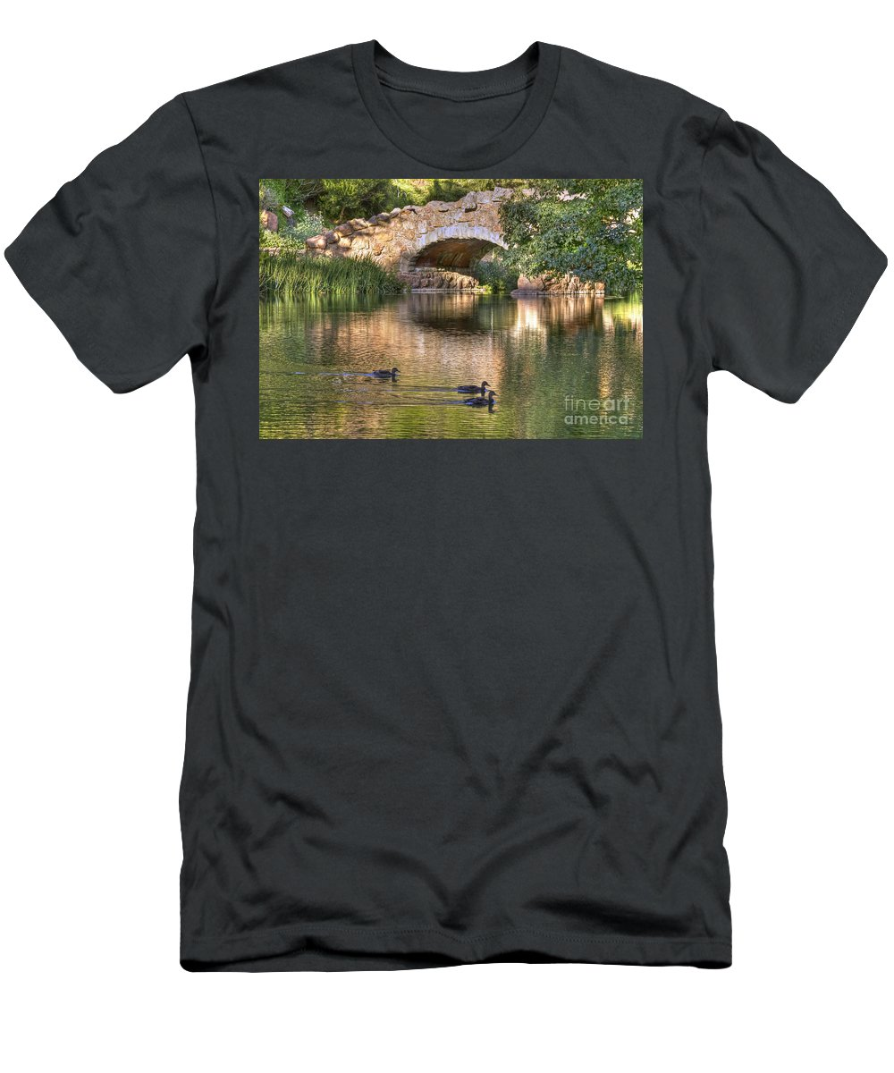 Kate Brown Men's T-Shirt (Athletic Fit) featuring the photograph Bridge At Stow Lake by Kate Brown