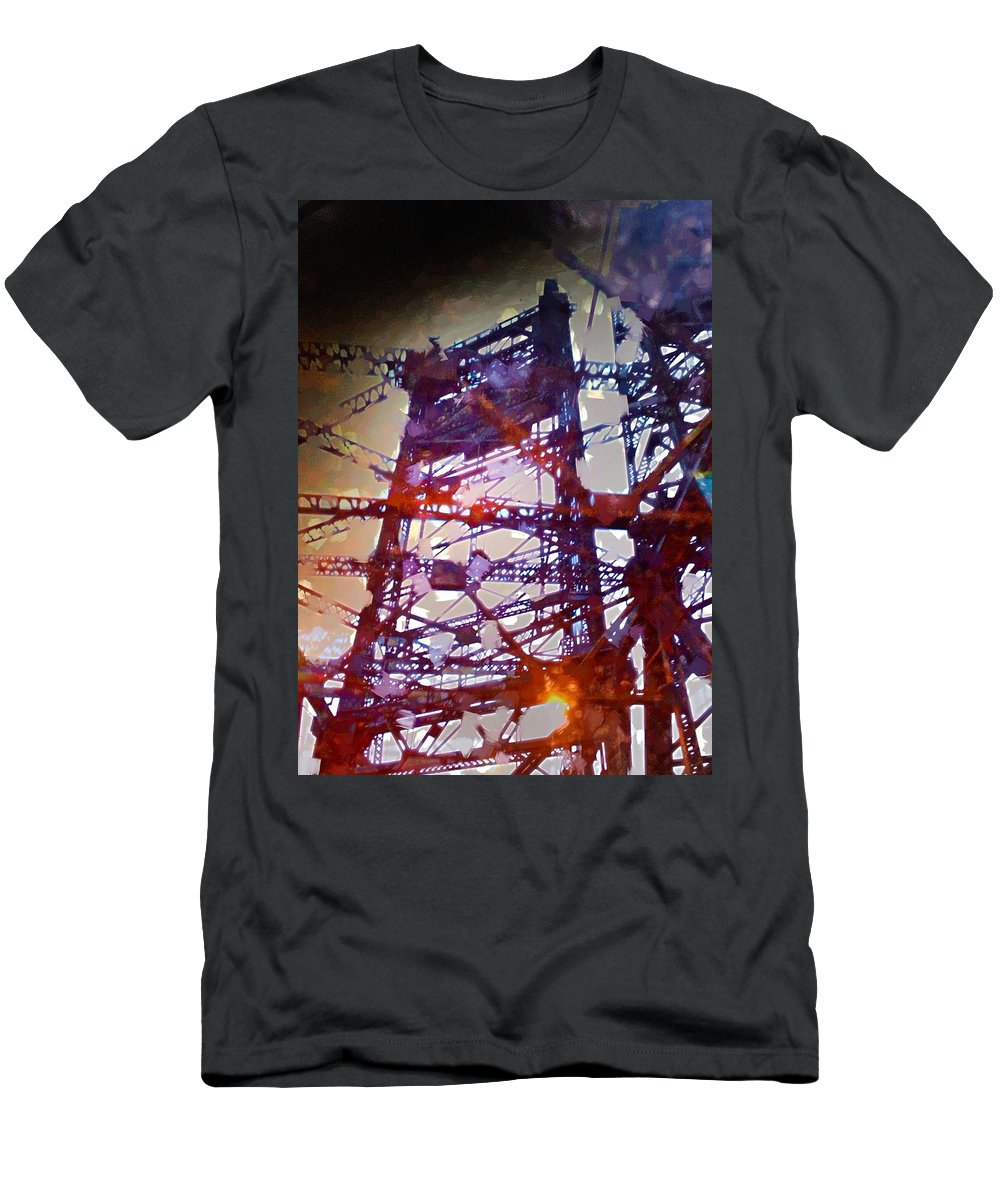 Bridge Men's T-Shirt (Athletic Fit) featuring the photograph Bridge At Sunrise by H James Hoff