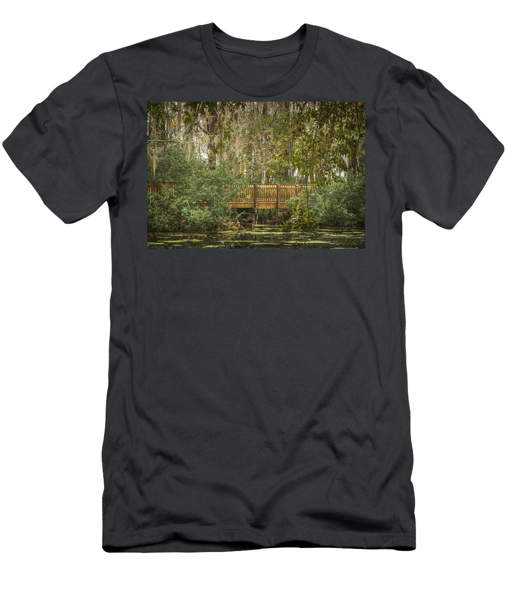 Florida Men's T-Shirt (Athletic Fit) featuring the photograph Bridge Beside The Pond by Jane Luxton