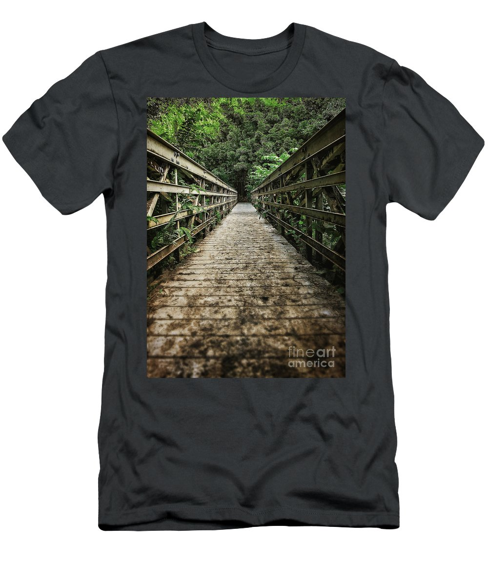 Forest Men's T-Shirt (Athletic Fit) featuring the photograph Bridge Leading Into The Bamboo Jungle by Edward Fielding