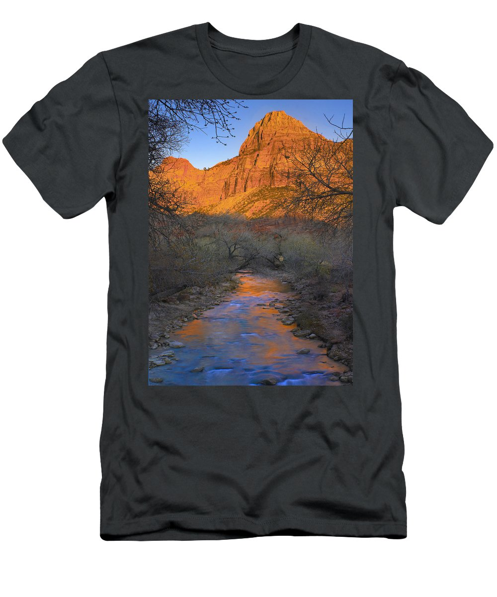 Feb0514 Men's T-Shirt (Athletic Fit) featuring the photograph Bridge Mt And The Virgin River Zion Np by Tim Fitzharris
