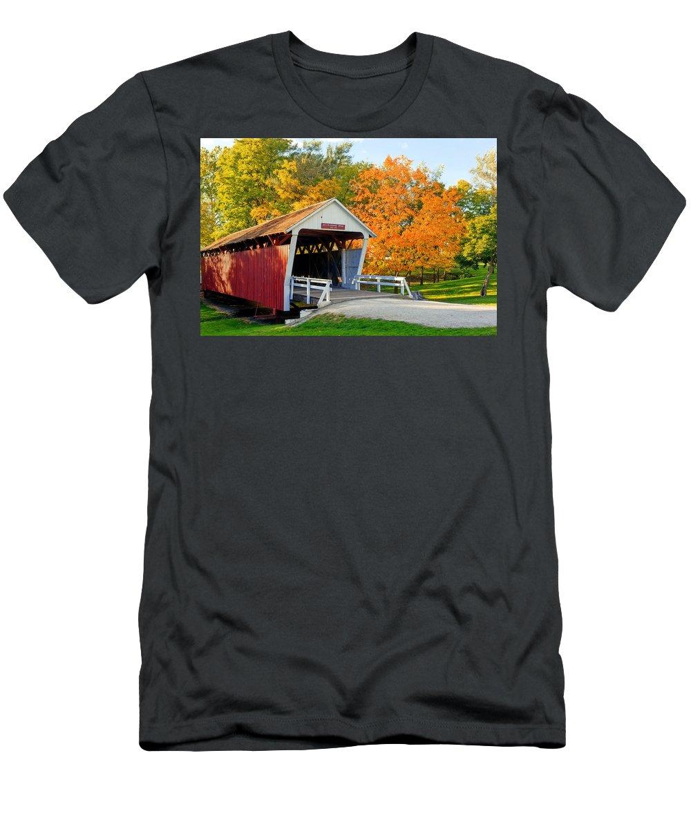 Cutler�danohoe Bridge Men's T-Shirt (Athletic Fit) featuring the photograph Bridge Of Madison County by Sennie Pierson