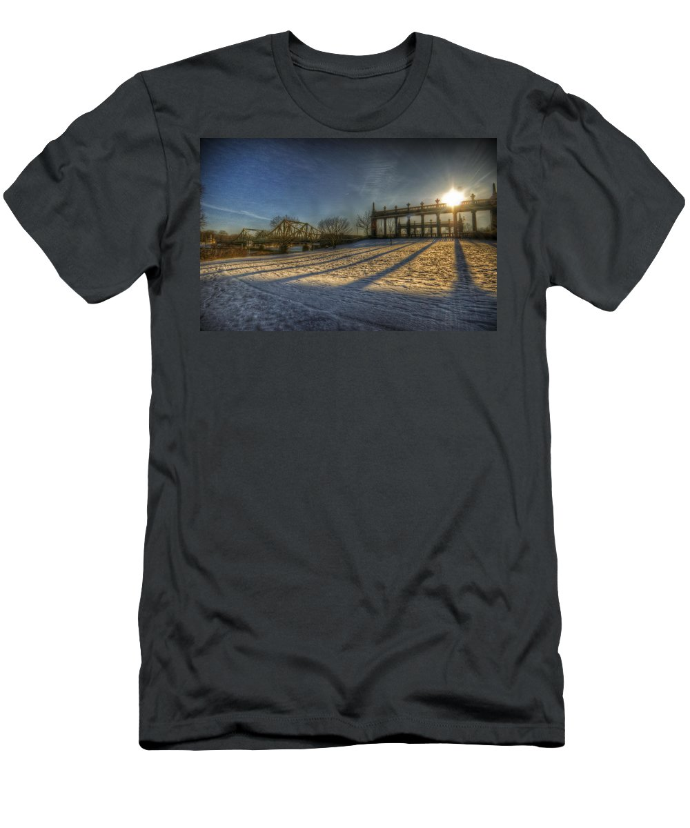 Area Men's T-Shirt (Athletic Fit) featuring the digital art Bridge Of Spy's Sunset. by Nathan Wright