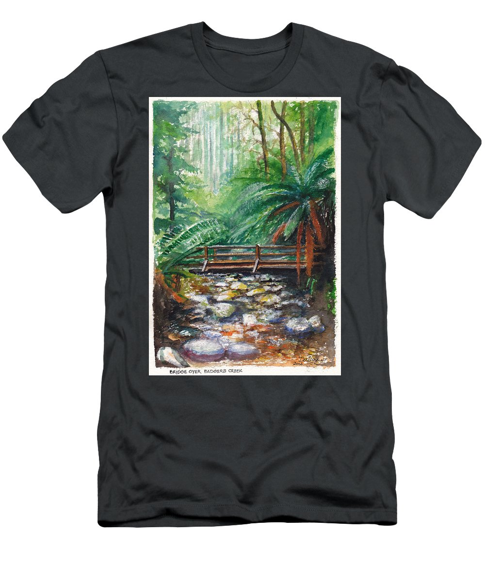 Rainforest Men's T-Shirt (Athletic Fit) featuring the painting Bridge Over Badger Creek by Dai Wynn