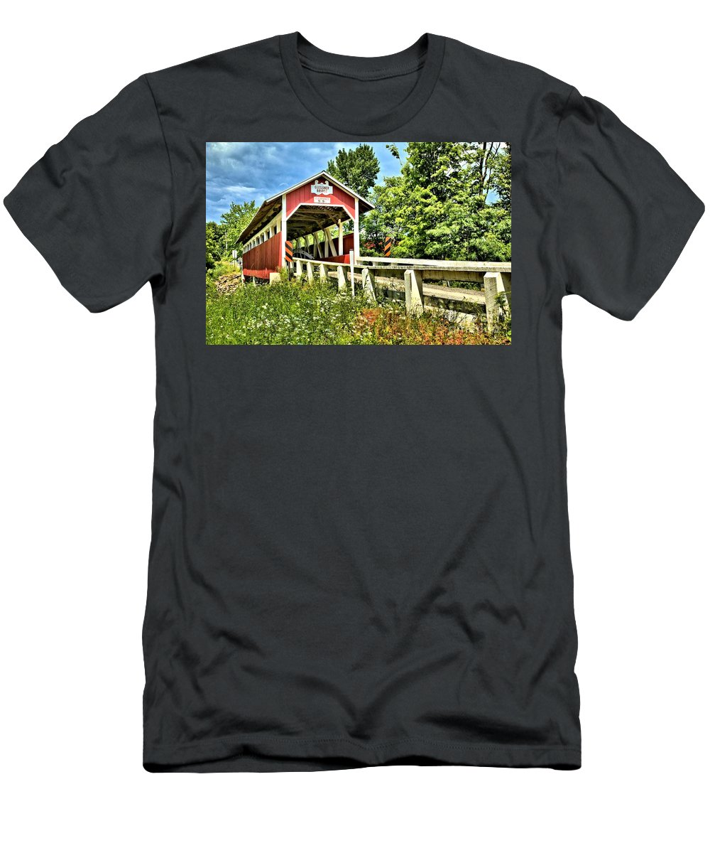 Covered Bridge Men's T-Shirt (Athletic Fit) featuring the photograph Bridge To Yesterday by Adam Jewell