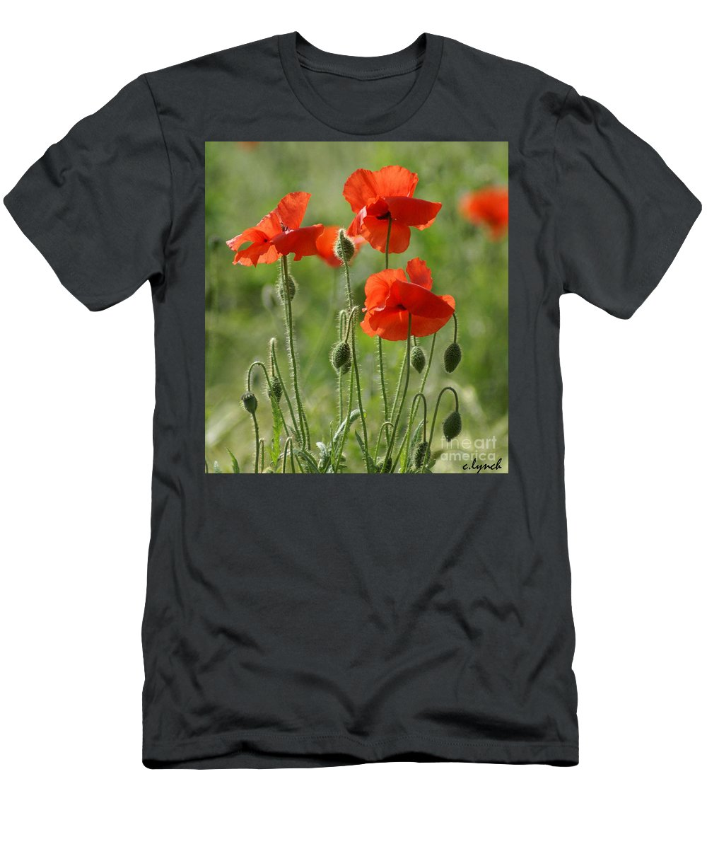 Poppies Men's T-Shirt (Athletic Fit) featuring the photograph Bright Poppies 2 by Carol Lynch