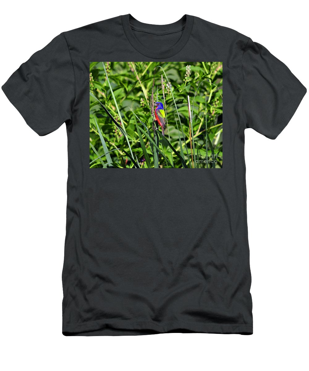 Bird Men's T-Shirt (Athletic Fit) featuring the photograph Brilliant Bunting by Al Powell Photography USA