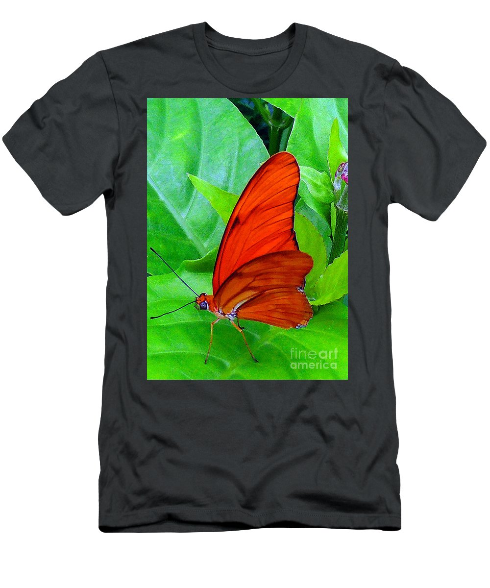 Butterfly Men's T-Shirt (Athletic Fit) featuring the photograph Brilliant Butterfly by Lydia Holly