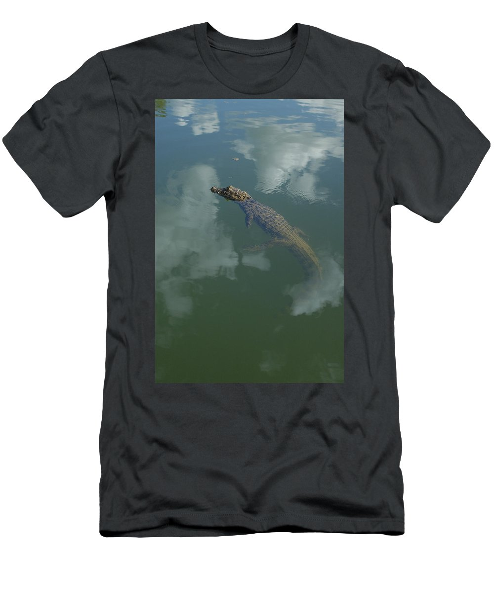 Feb0514 Men's T-Shirt (Athletic Fit) featuring the photograph Broad-snouted Caiman Floating South by Pete Oxford