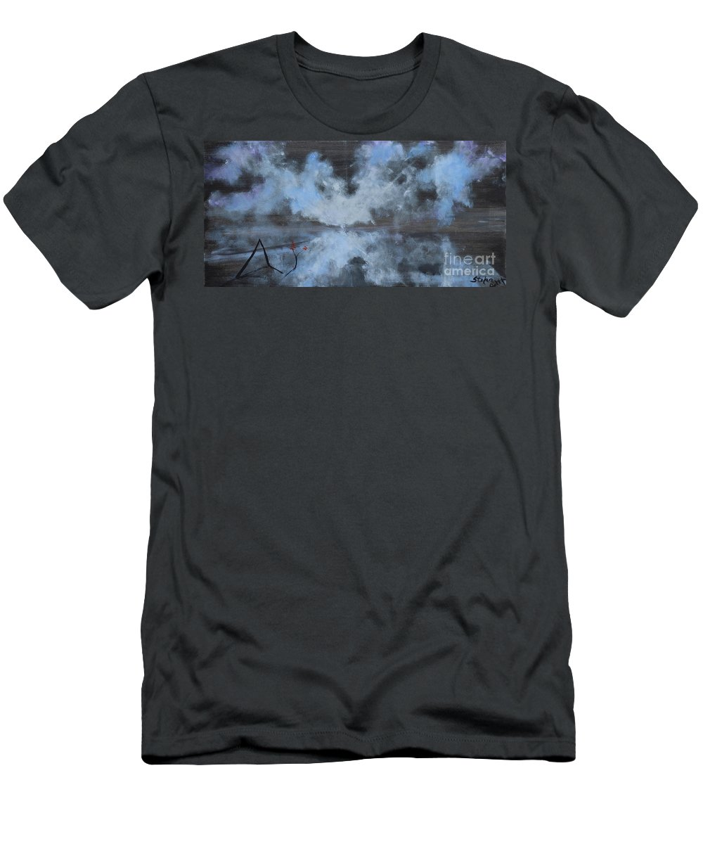 Clouds Men's T-Shirt (Athletic Fit) featuring the painting Broken But Coming Home by Stefan Duncan