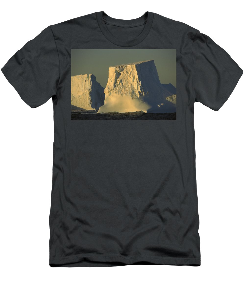 Feb0514 Men's T-Shirt (Athletic Fit) featuring the photograph Broken Tabular Icebergs Antarctica by Gerry Ellis