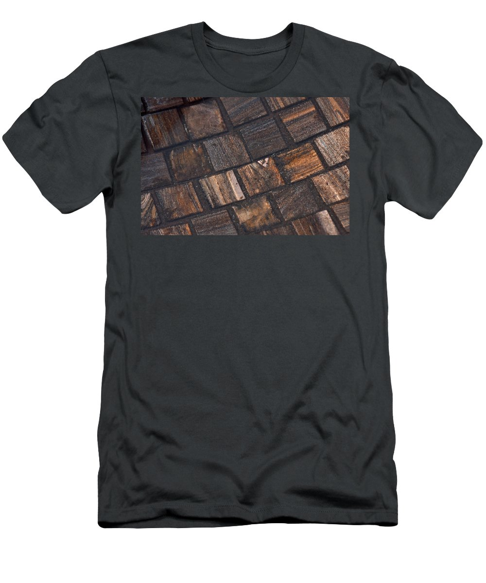 Pattern Men's T-Shirt (Athletic Fit) featuring the photograph Bronze Tile Squares by Tikvah's Hope