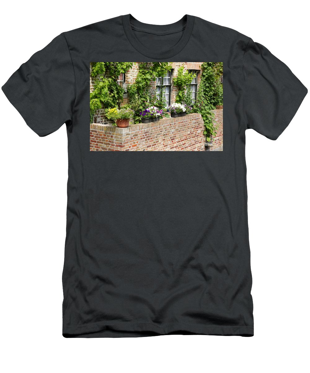 Bruges Men's T-Shirt (Athletic Fit) featuring the photograph Brugge Balcony by Carol Groenen