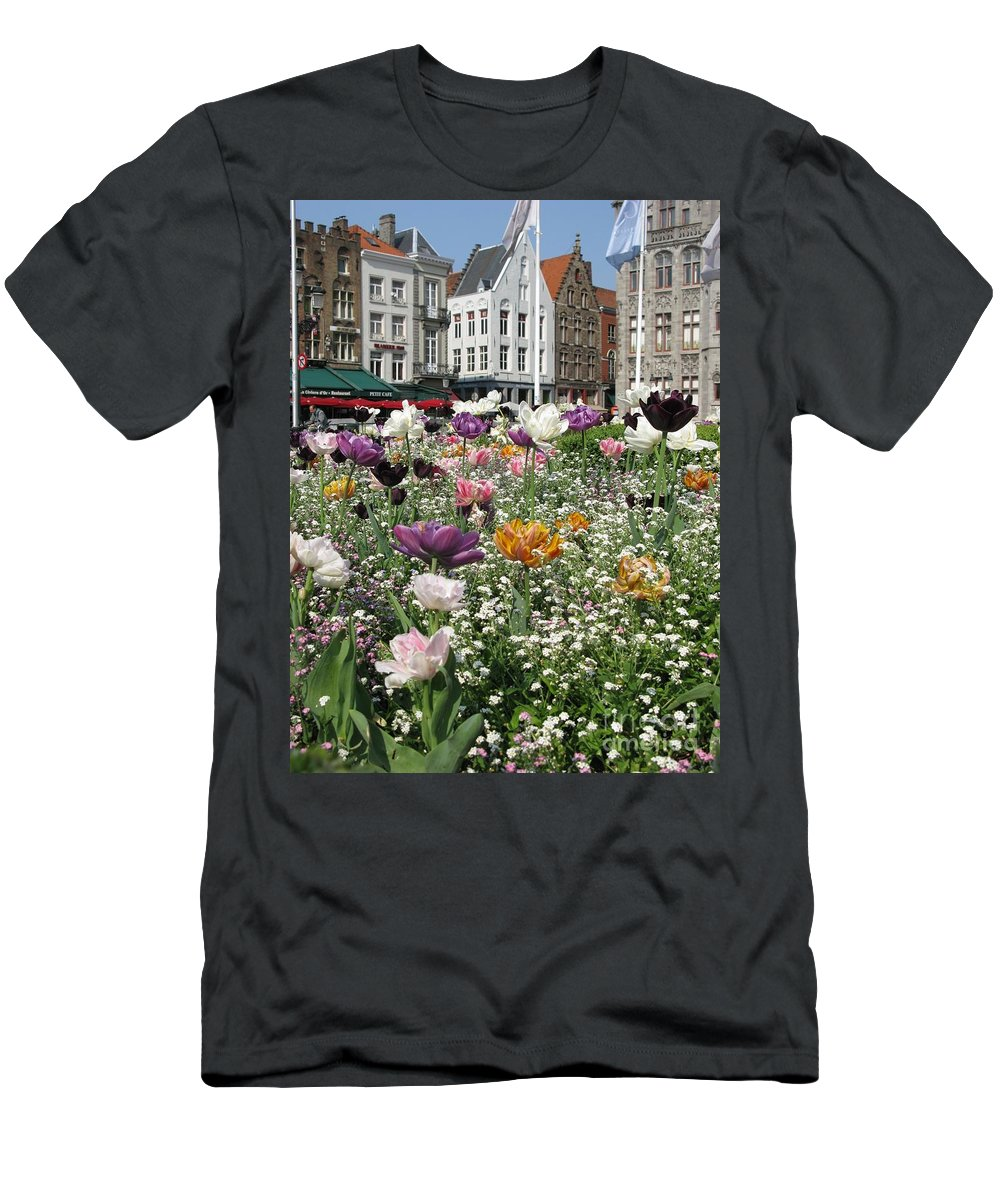 Brugge Men's T-Shirt (Athletic Fit) featuring the photograph Brugge In Spring by Ausra Huntington nee Paulauskaite
