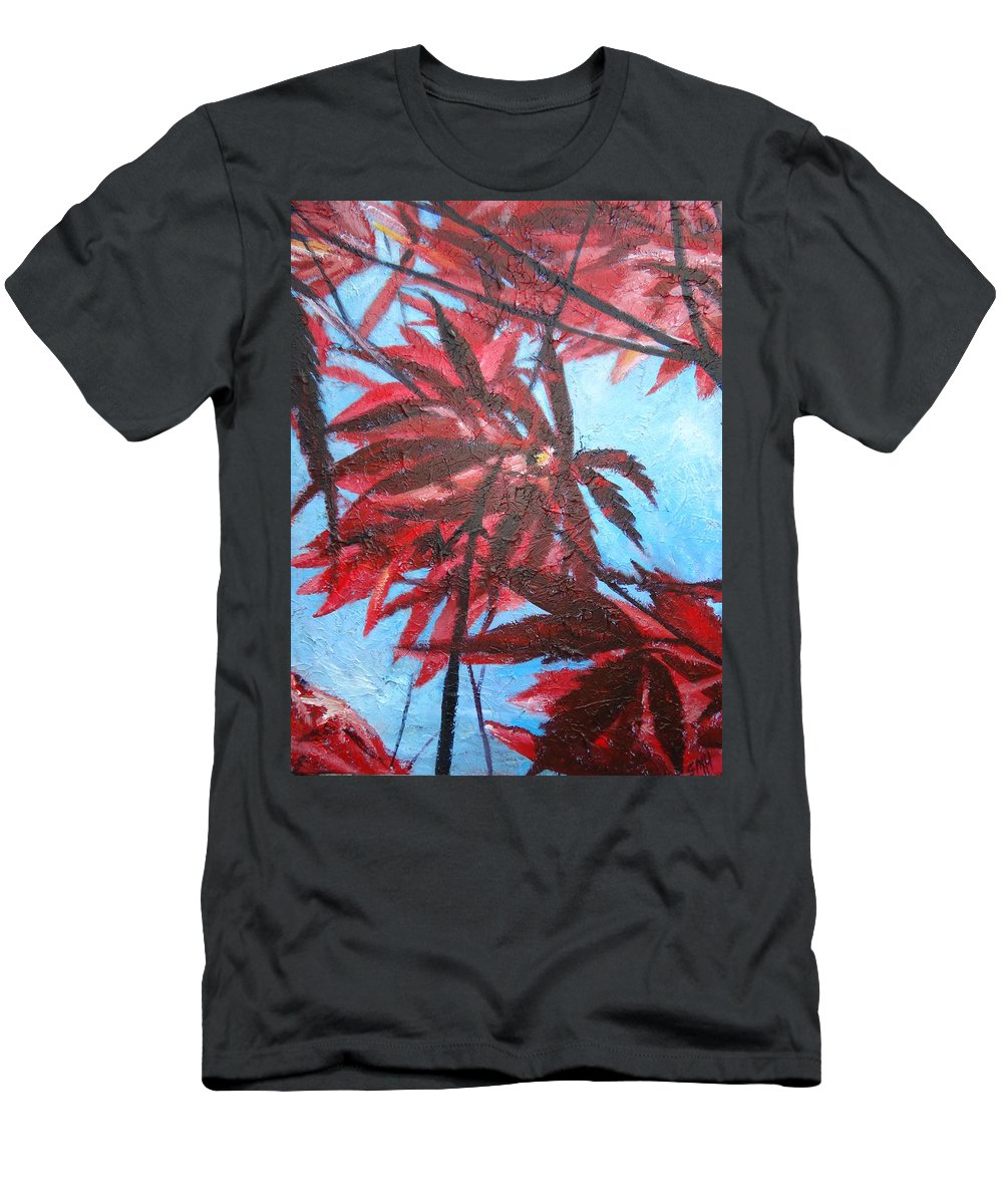 Japanese Maple Leaves Men's T-Shirt (Athletic Fit) featuring the painting Burgundy Beauty by Sheila Holland