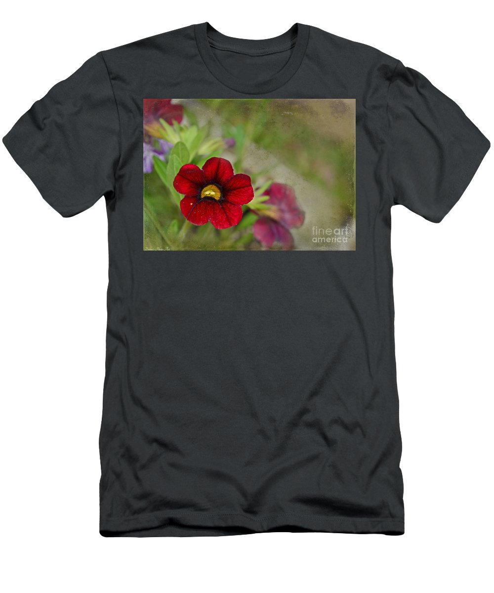 Nature Men's T-Shirt (Athletic Fit) featuring the photograph Burgundy Calibrochoa Blank Greeting Card by Debbie Portwood