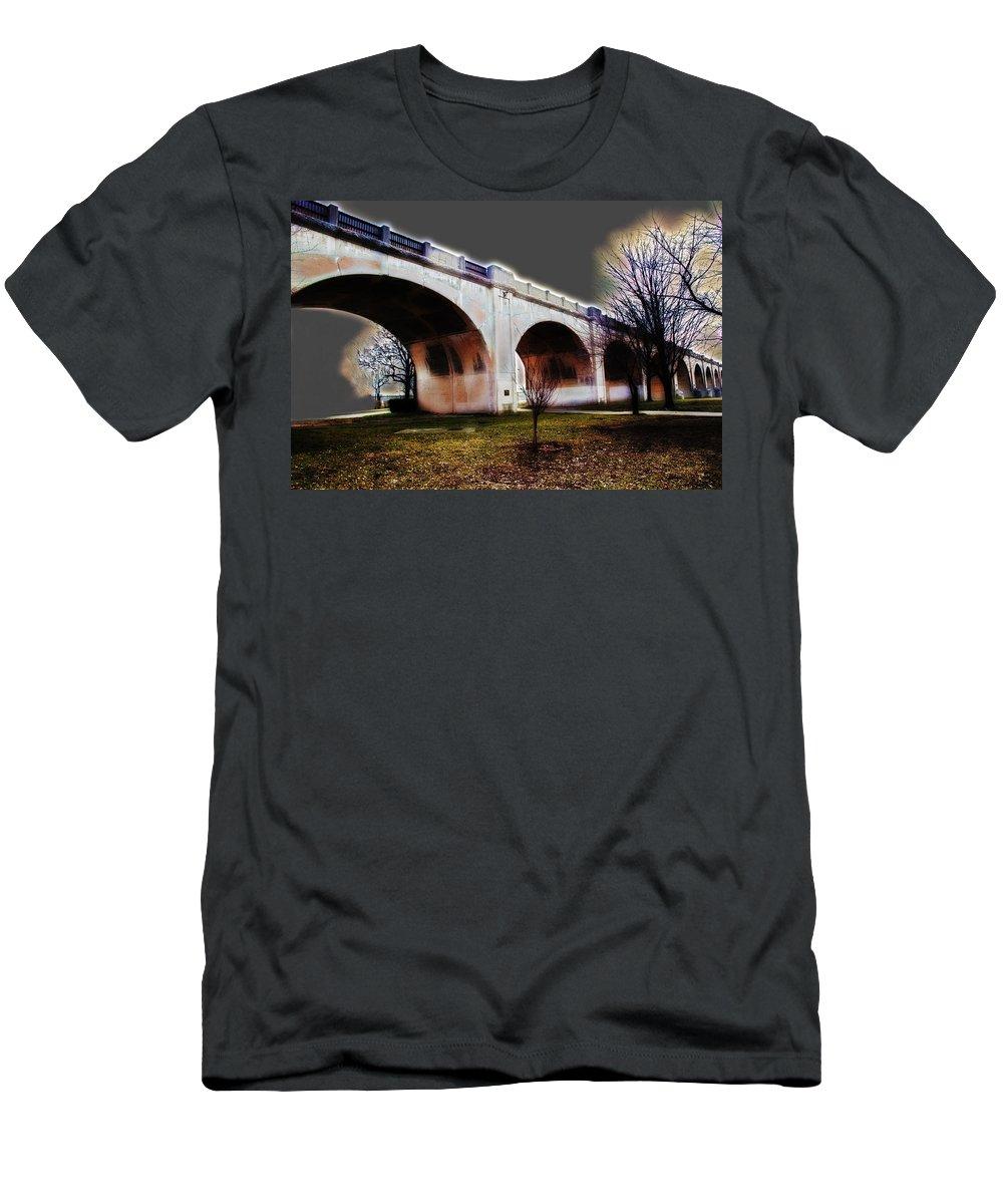 Landscape Men's T-Shirt (Athletic Fit) featuring the photograph Burning Bridges by Andrea Kainz