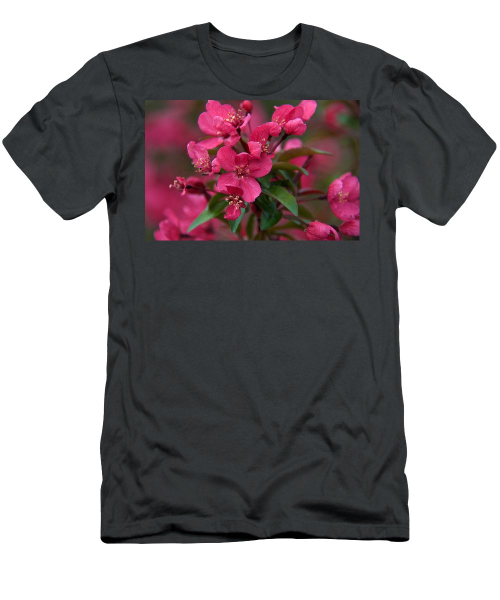 Blooms Men's T-Shirt (Athletic Fit) featuring the photograph Burst Of Fire by Linda Shannon Morgan