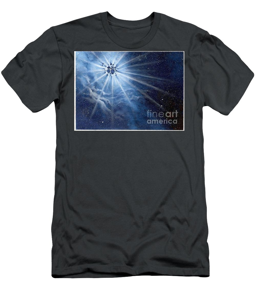 Outerspace Men's T-Shirt (Athletic Fit) featuring the painting Burst Of Light by Murphy Elliott