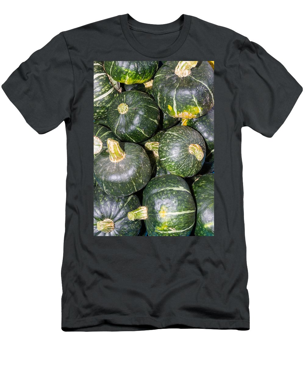 Agriculture Men's T-Shirt (Athletic Fit) featuring the photograph Buttercup Winter Squash On Display by John Trax