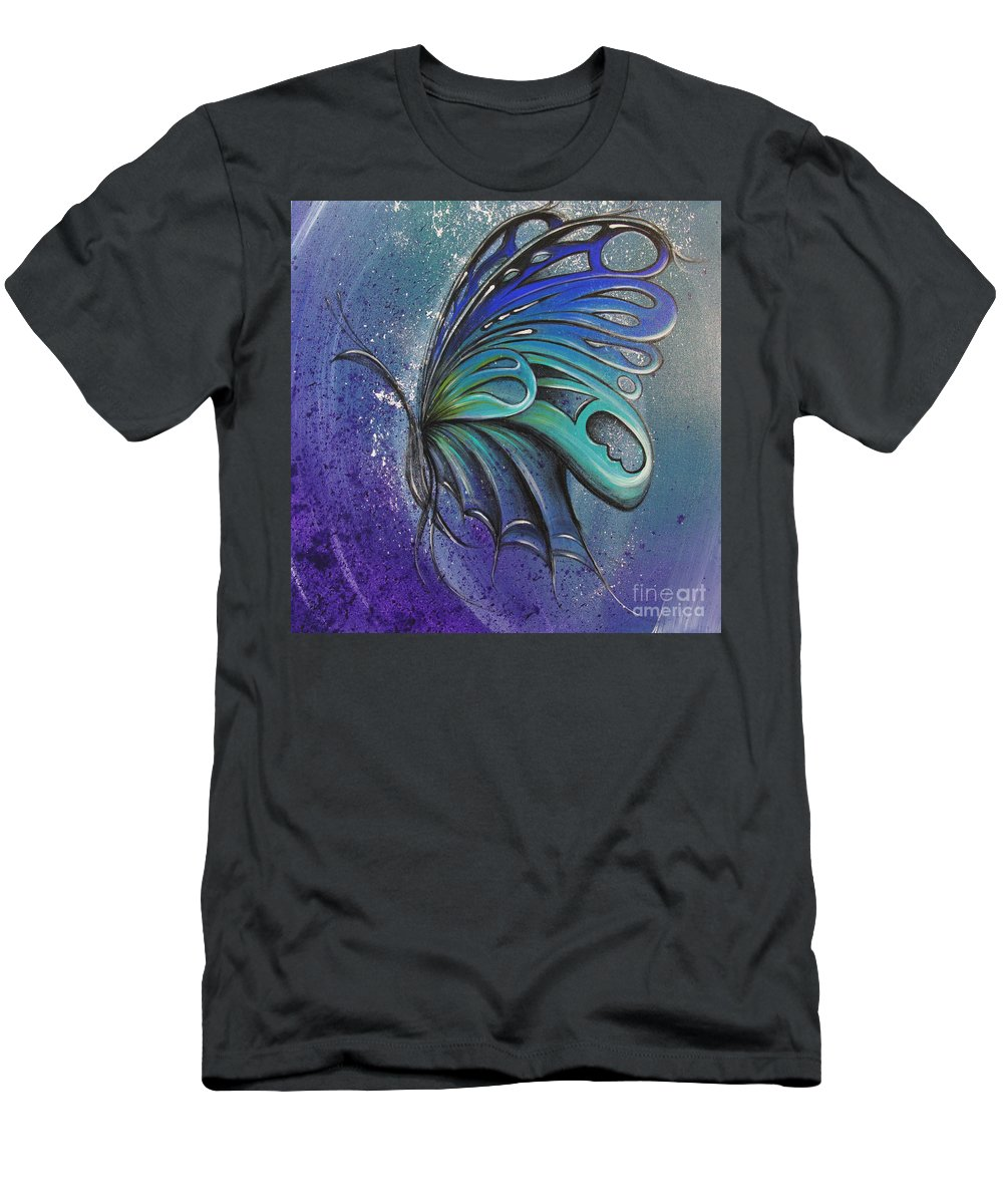 Reina Men's T-Shirt (Athletic Fit) featuring the painting Butterfly 3 by Reina Cottier
