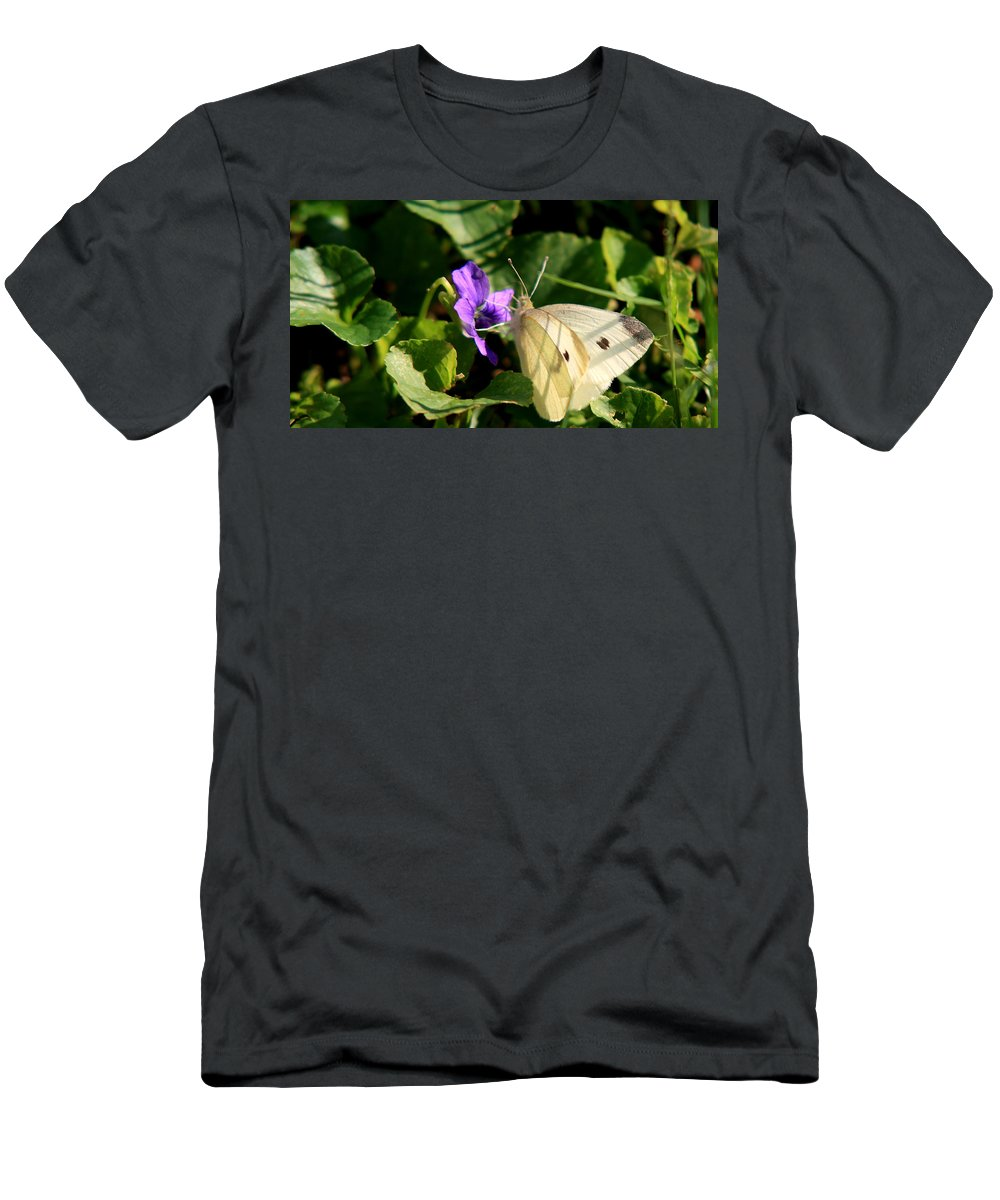 Butterfly Men's T-Shirt (Athletic Fit) featuring the photograph Butterfly At Flower by David Dufresne