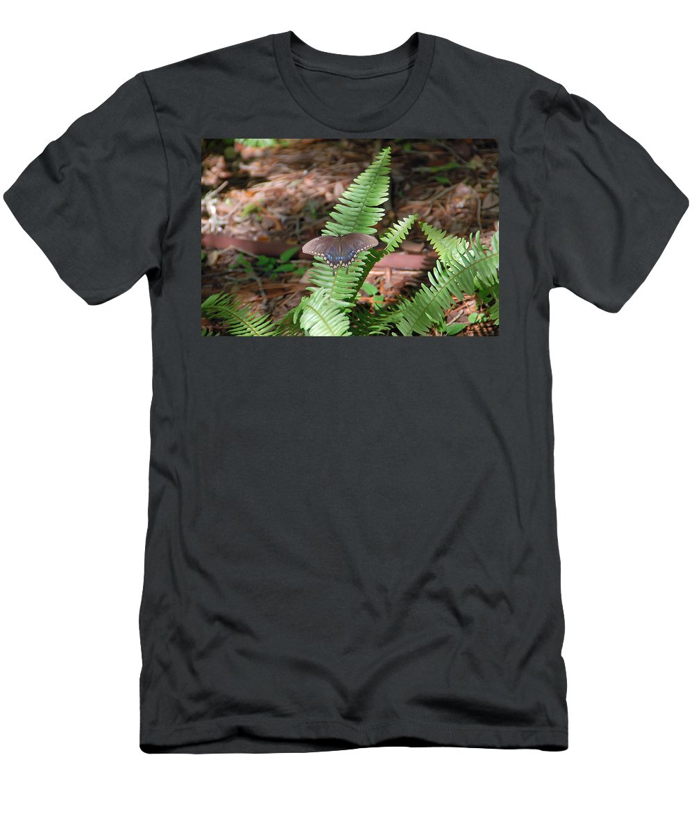 Butterfly Men's T-Shirt (Athletic Fit) featuring the photograph Butterfly On Fern by Aimee L Maher ALM GALLERY