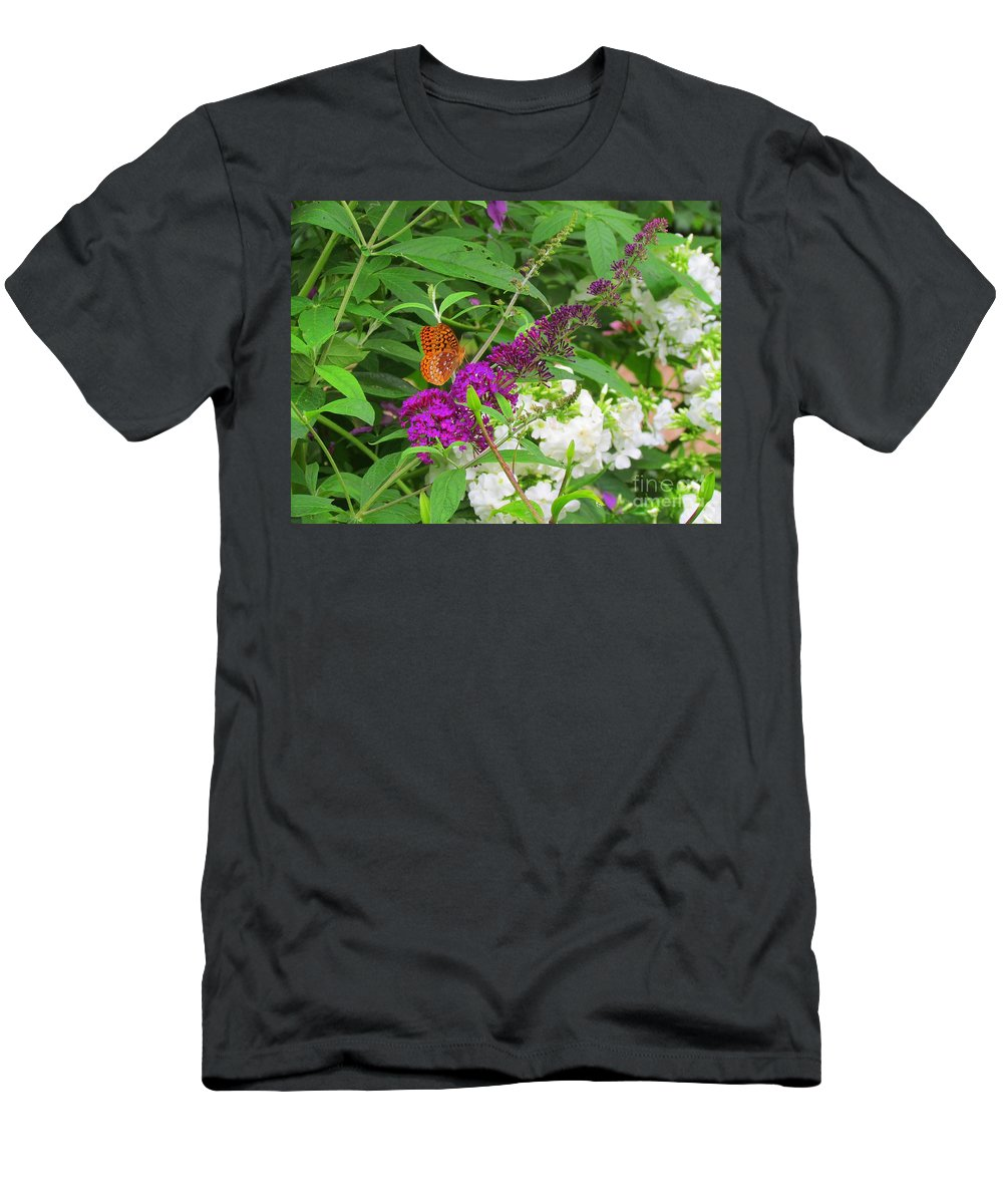 Flowers Men's T-Shirt (Athletic Fit) featuring the photograph Butterfly Surprise by Elizabeth Dow