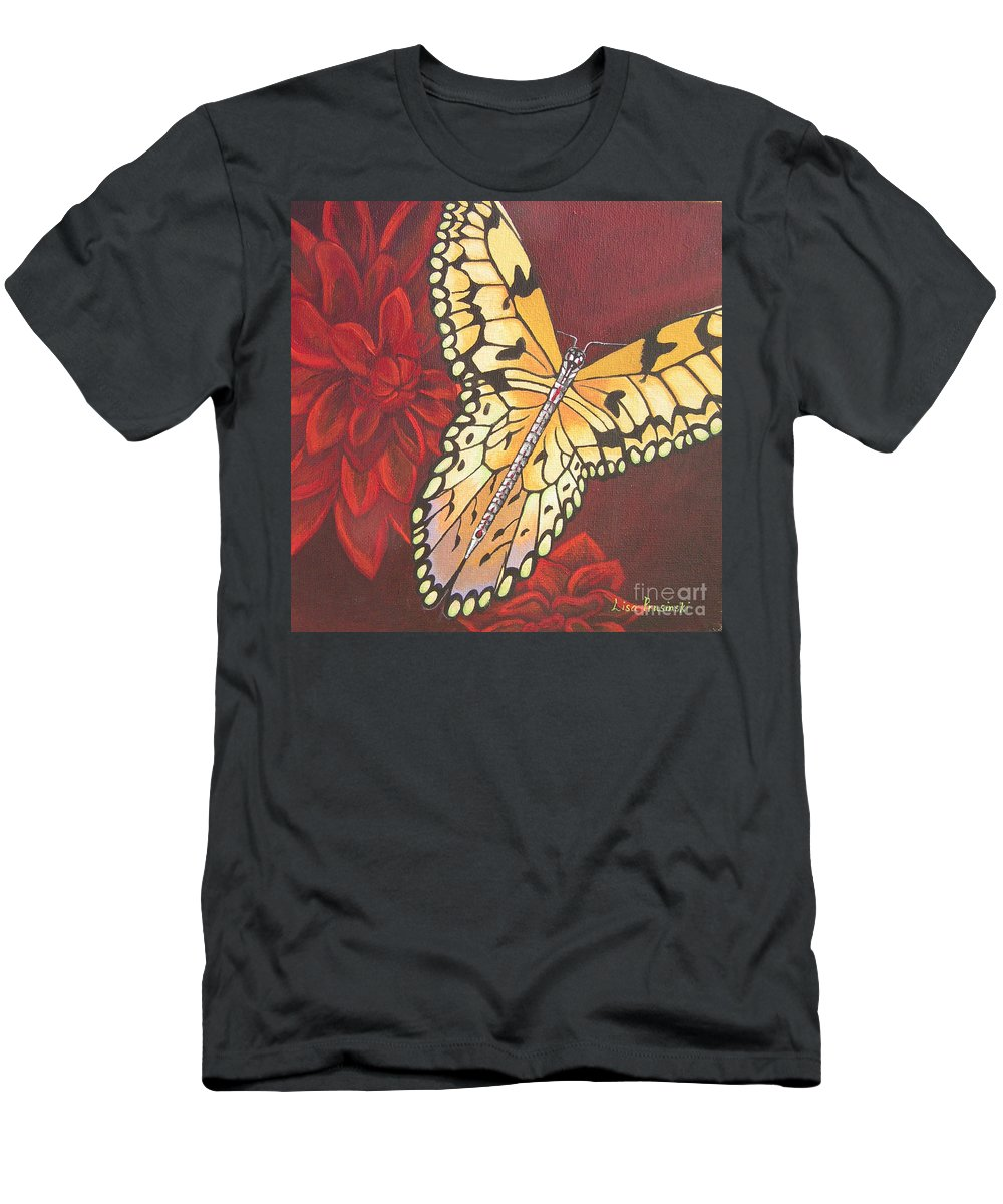 Butterfly Men's T-Shirt (Athletic Fit) featuring the painting Butterfly Wrapped In Red by Lisa Prusinski