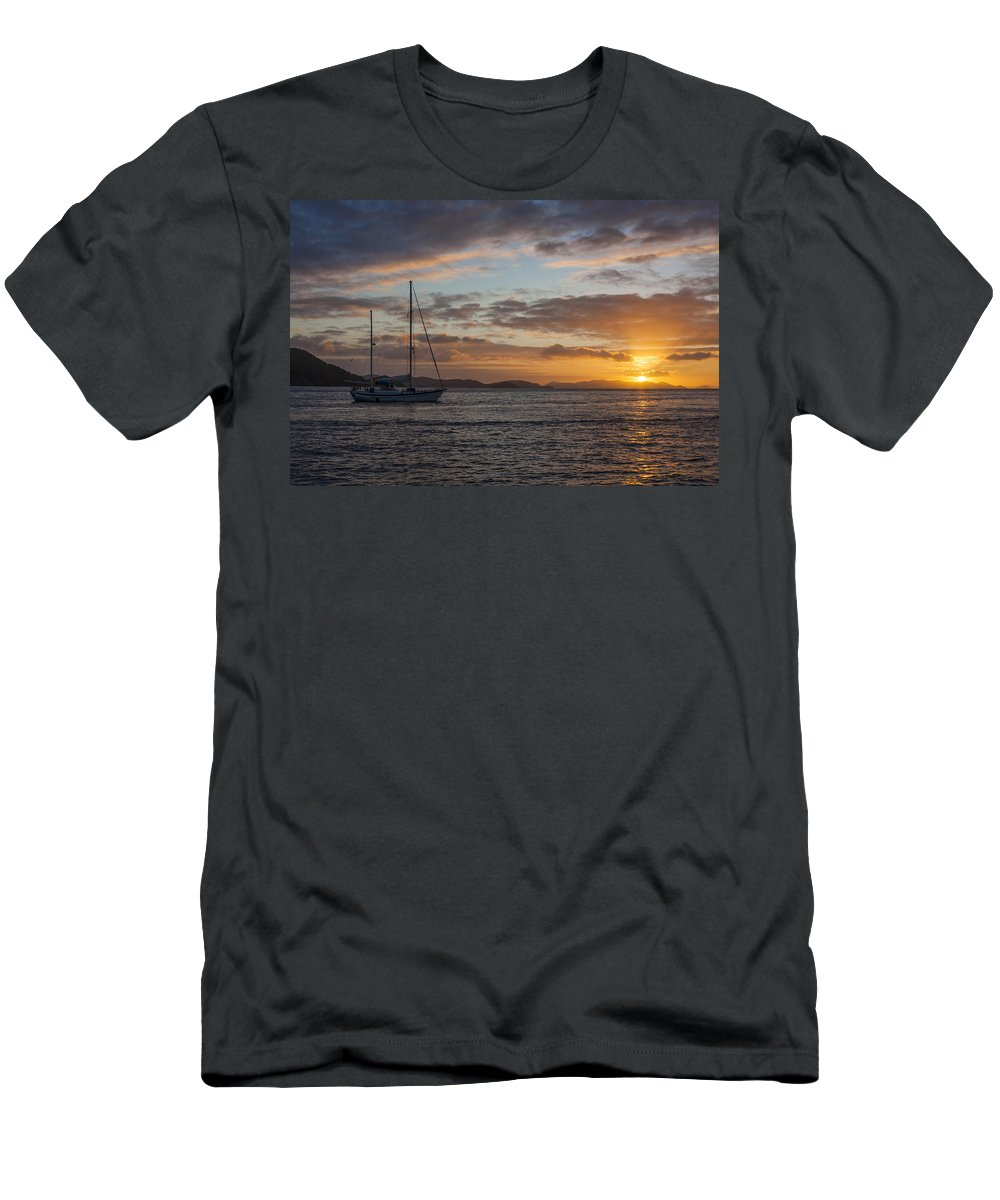 3scape Men's T-Shirt (Athletic Fit) featuring the photograph Bvi Sunset by Adam Romanowicz