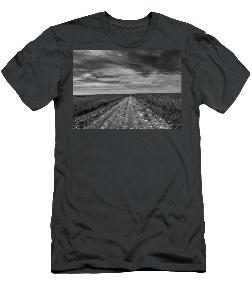 Flint Hills Men's T-Shirt (Athletic Fit) featuring the photograph Bxw Gravel Vanishing Point by Eric Benjamin