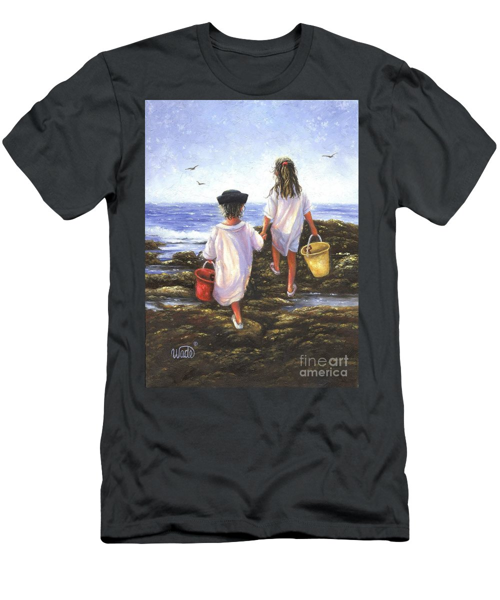 Two Beach Children Men's T-Shirt (Athletic Fit) featuring the painting By The Sea by Vickie Wade