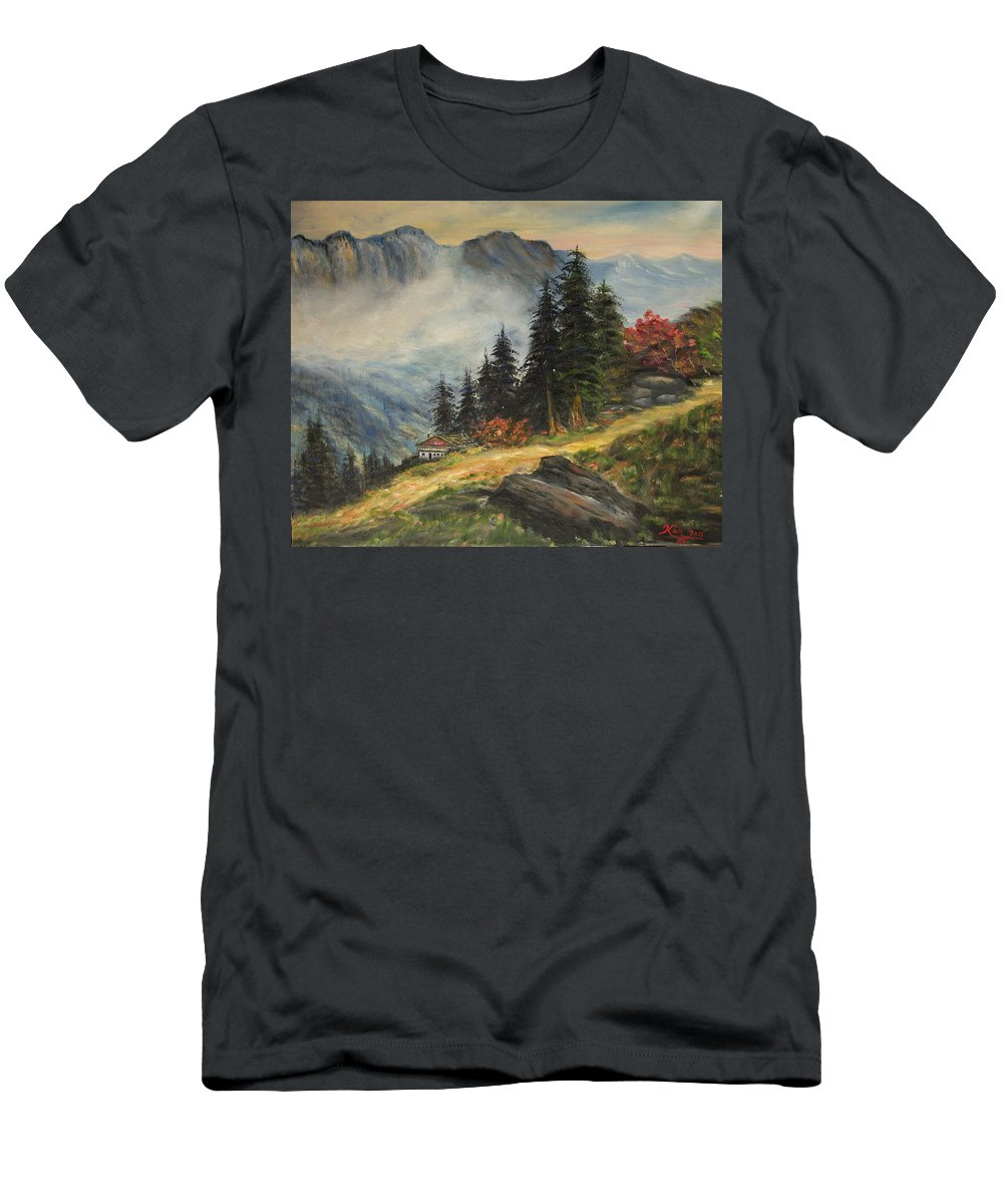 Landscape T-Shirt featuring the painting Cabin in the Alps by Kenneth LePoidevin