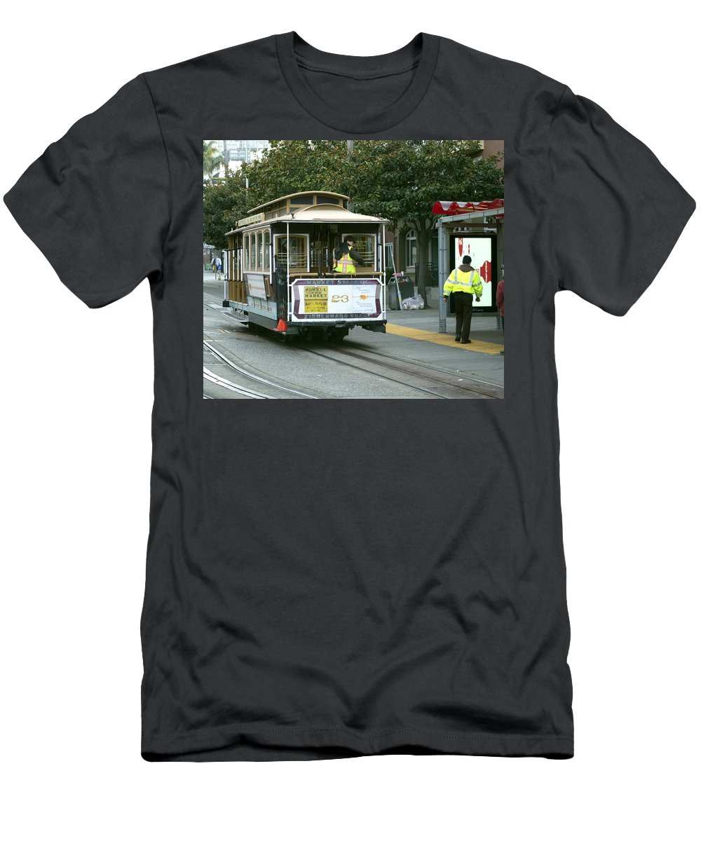 Photograph Men's T-Shirt (Athletic Fit) featuring the photograph Cable Car At Fisherman's Wharf by Christopher Winkler
