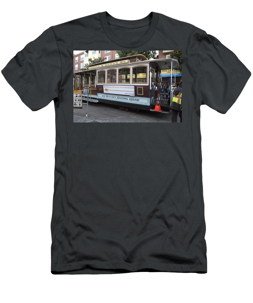 Photograph Men's T-Shirt (Athletic Fit) featuring the photograph Cable Car Turn-around At Fisherman's Wharf by Christopher Winkler