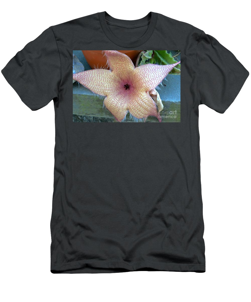 Stapelia Gigantean Flower Men's T-Shirt (Athletic Fit) featuring the photograph Stapelia Gigantean Flower by Jeannie Rhode