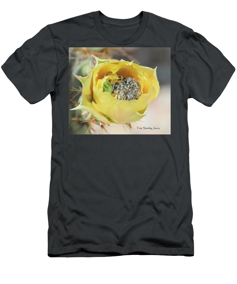 Cactus Flower With Ball Of Bees Men's T-Shirt (Athletic Fit) featuring the photograph Cactus Flower With Ball Of Bees by Tom Janca