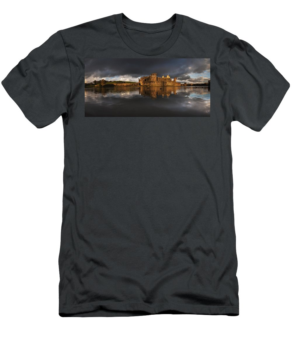 Caerphilly Castle Men's T-Shirt (Athletic Fit) featuring the photograph Caerphilly Castle Reflection by Nigel Forster