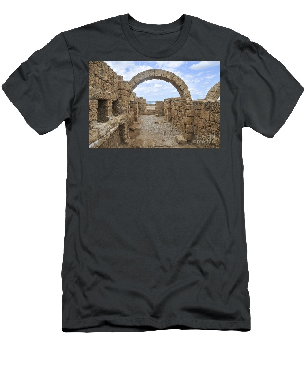 Hippodrome Men's T-Shirt (Athletic Fit) featuring the photograph Caesarea The Hippodrome by Shay Levy