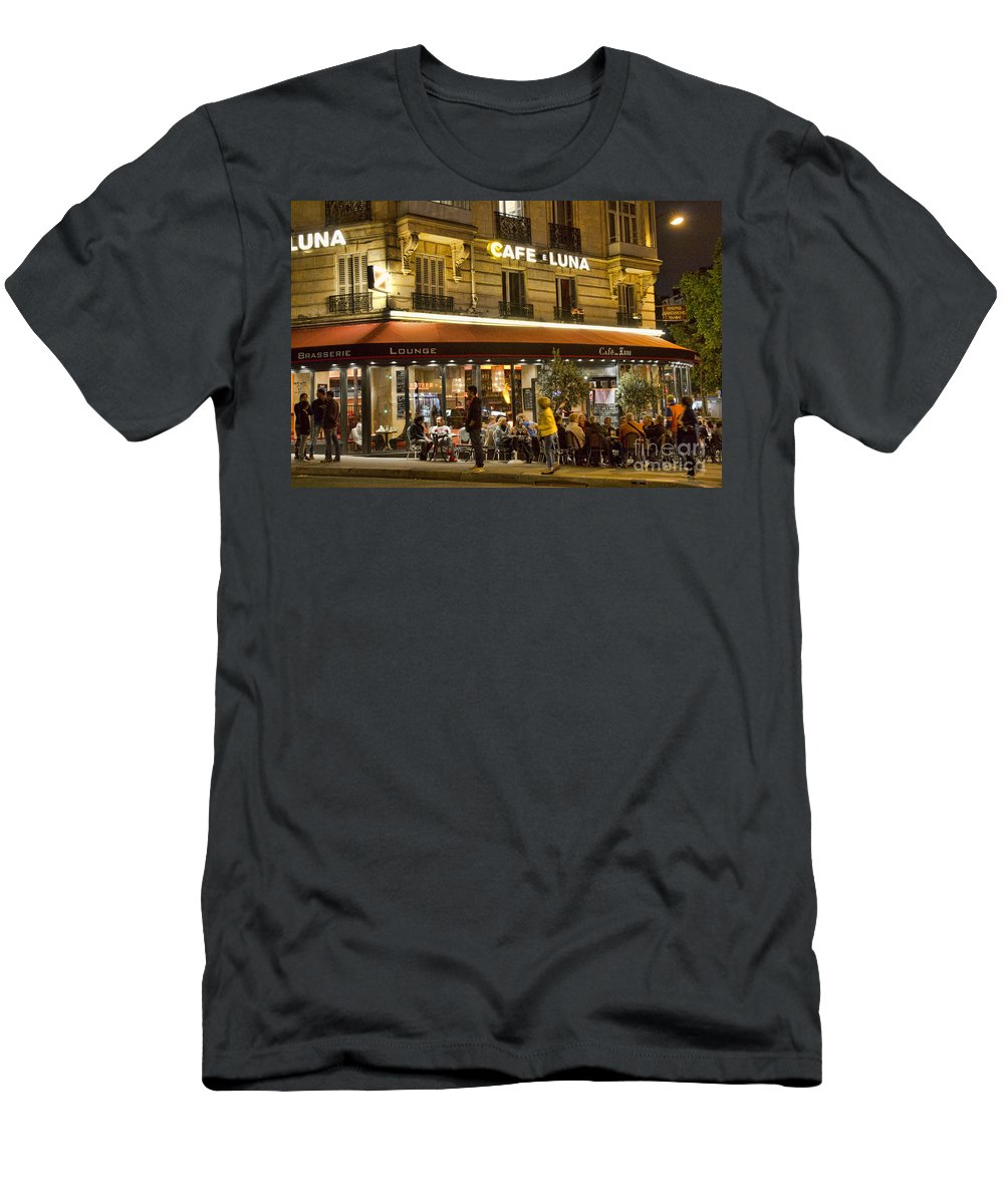 Europe Men's T-Shirt (Athletic Fit) featuring the photograph Cafe Luna by Crystal Nederman
