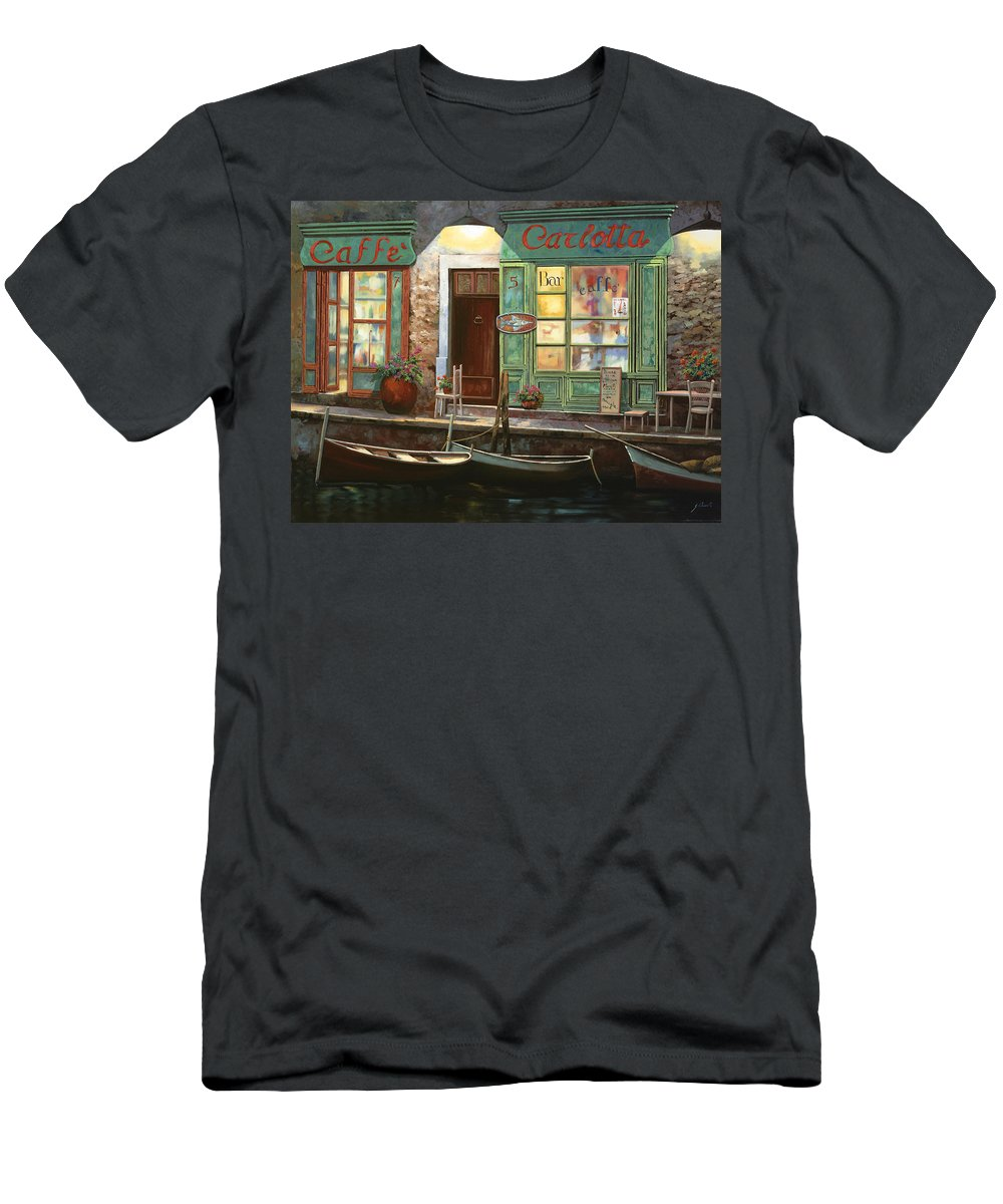Venice Men's T-Shirt (Athletic Fit) featuring the painting caffe Carlotta by Guido Borelli