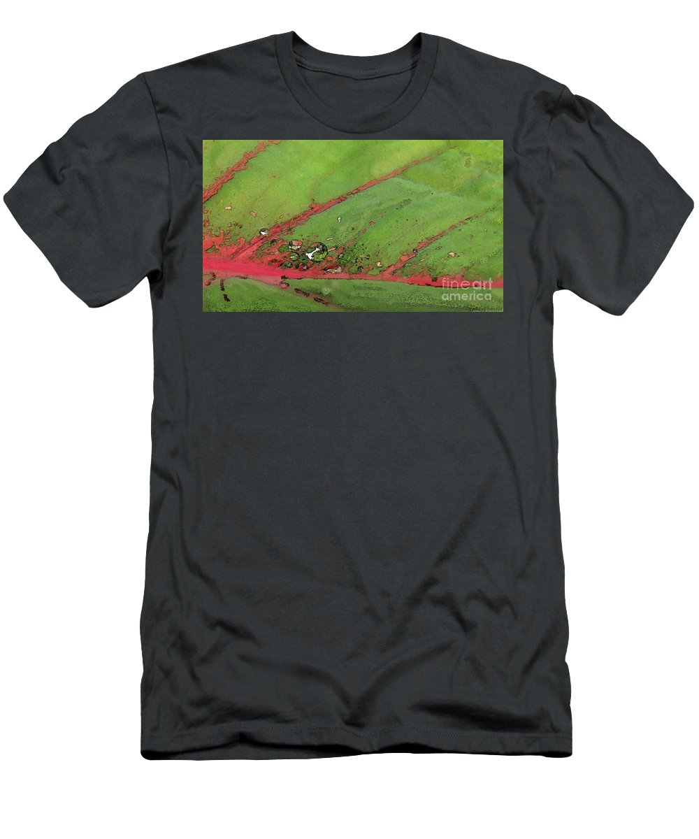 Nature Men's T-Shirt (Athletic Fit) featuring the digital art Caladium Leaf And Drop by Debbie Portwood