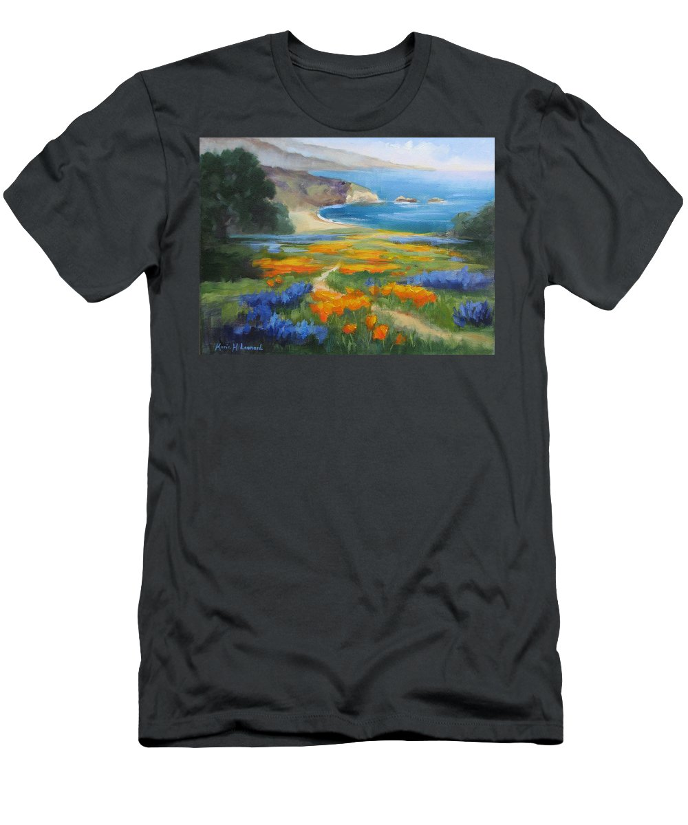 Big Sur Men's T-Shirt (Athletic Fit) featuring the painting California Spring Big Sur Coast by Karin Leonard