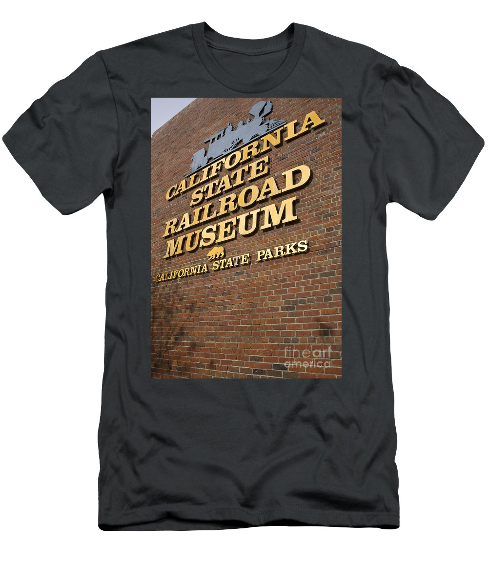 Travel Men's T-Shirt (Athletic Fit) featuring the photograph California State Railroad Museum by Jason O Watson