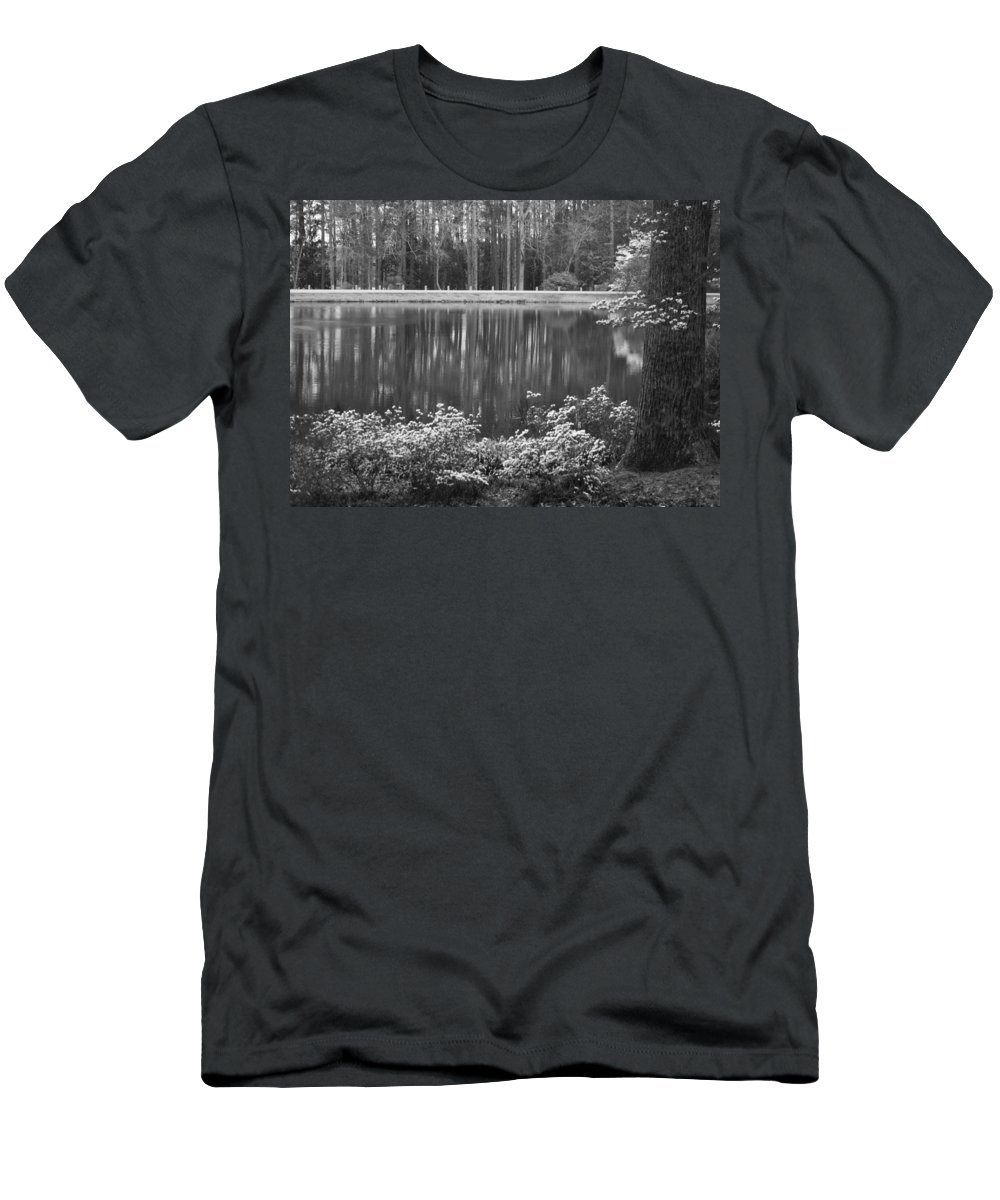 Callaway Gardens Men's T-Shirt (Athletic Fit) featuring the photograph Callaway Garden Reflection Pond by Kathy Clark