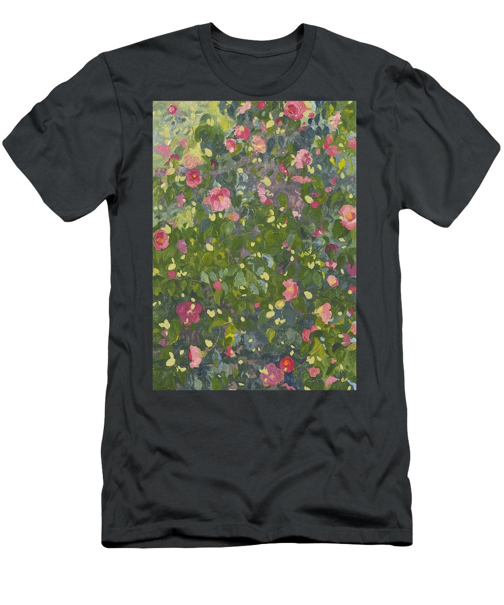 Floral Men's T-Shirt (Athletic Fit) featuring the painting Camellia In Flower by Leigh Glover