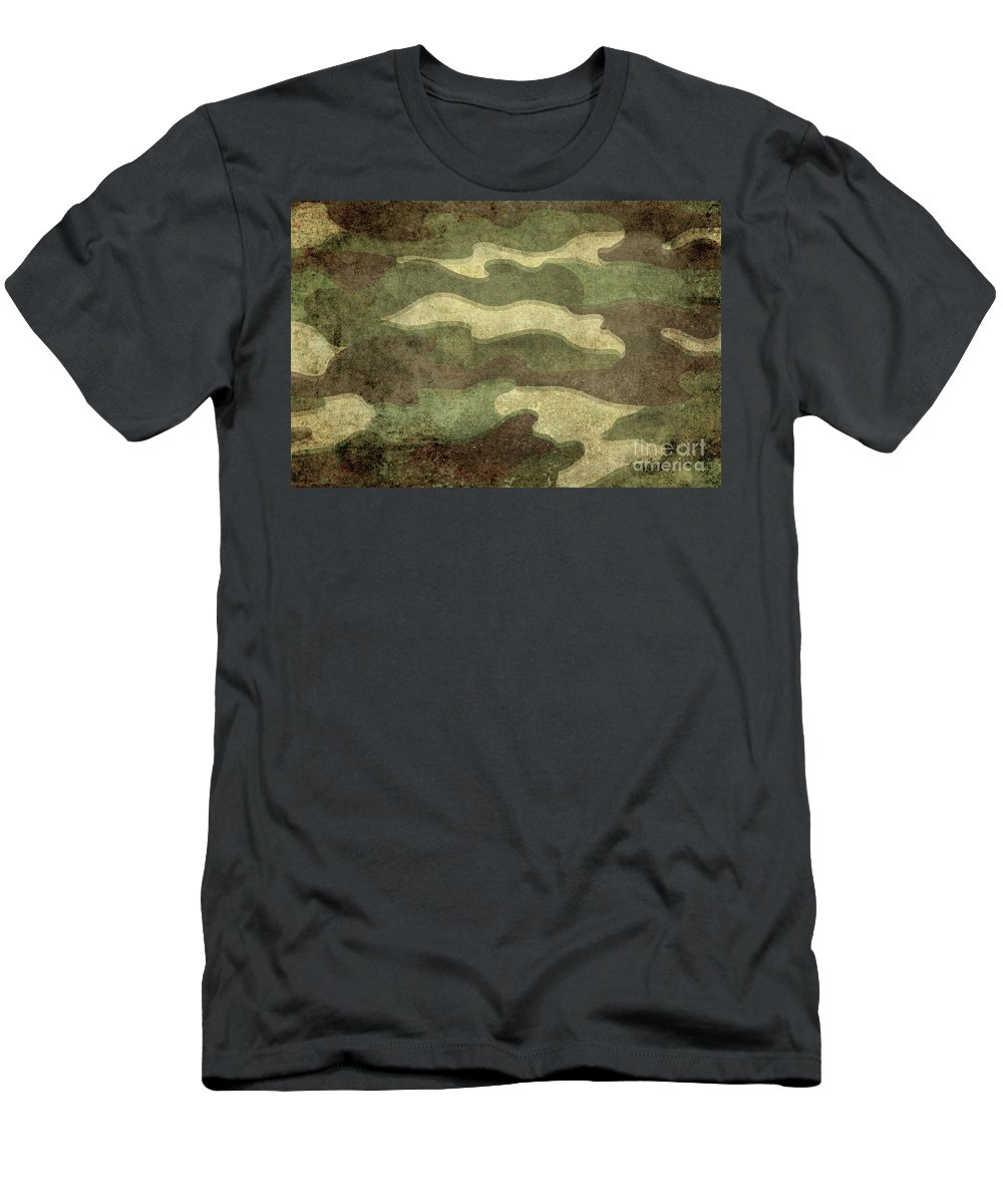 War Men's T-Shirt (Athletic Fit) featuring the digital art Camo Distressed Hard Version by Bruce Stanfield